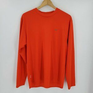 Nike Dri-Fit Long Sleeve Shirt Orange Embroidered